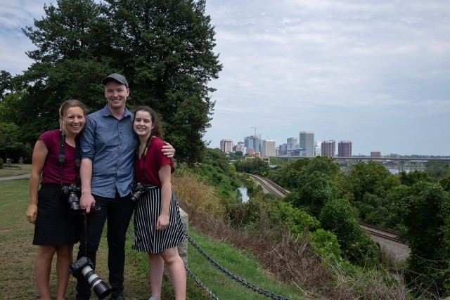 Andrew Caps, center, with Tilly Marlatt, left, of DePauw University, and Lillianna Byington, right of George Washington University, while we were reporting in Richmond, VA. Photo by Tilly Marlatt/News21.