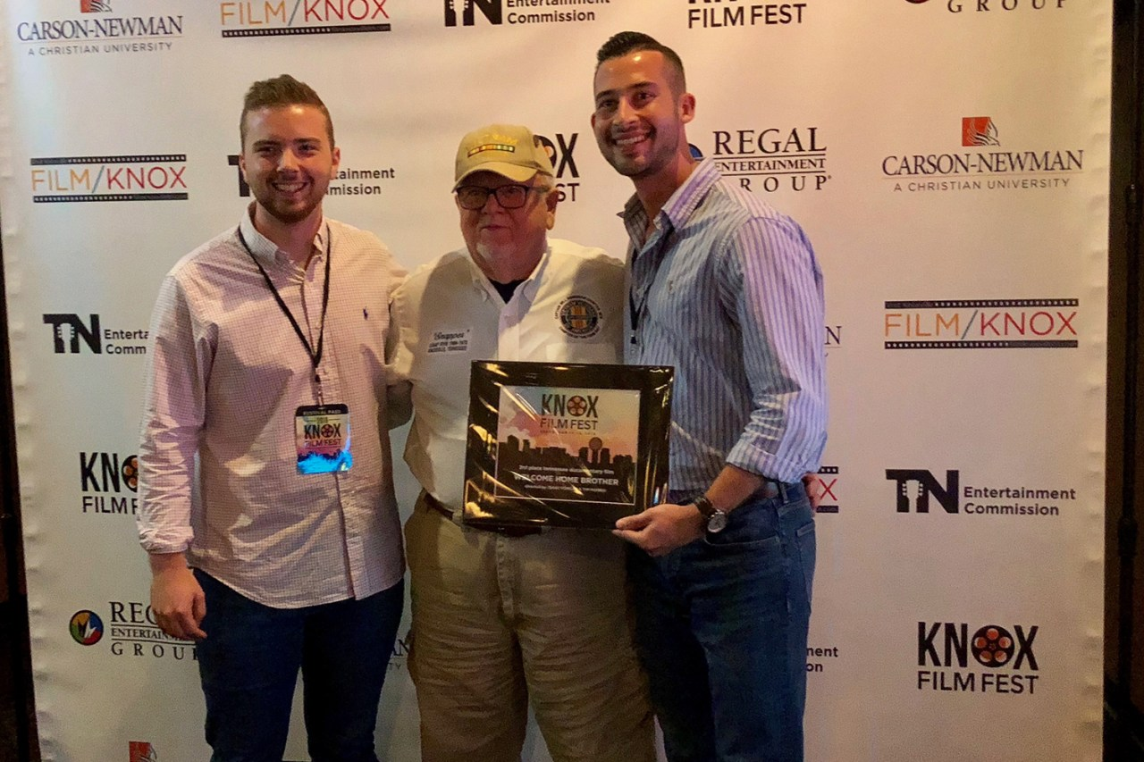 Isaac Fowler, left, and Tim Morris, right, with Doug (Snapper) Morgan, a Vietnam veteran featured in Welcome Home Brother, at the Knox Film Festival.