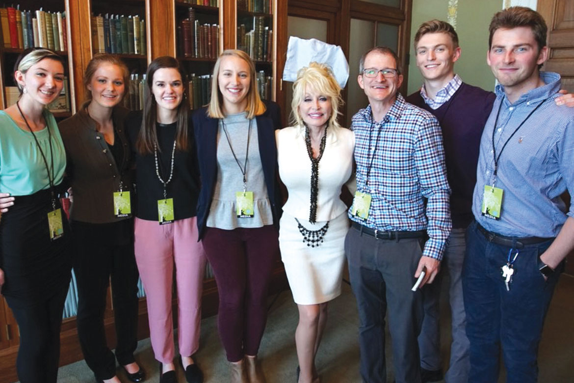 Land Grant film crew with Dolly Parton
